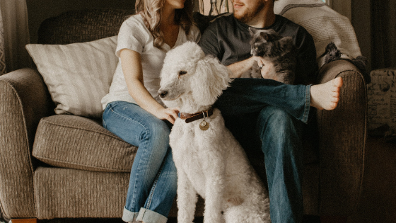 Husband and wife with dog and cat